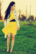 Lanvin for H&M dress - trench coat Anthropologie coat - Miu Miu heels - YSL ring