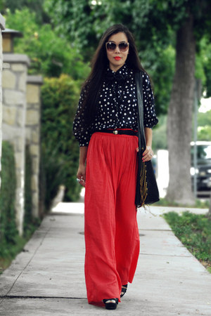tory burch shoes - red maxi Zara shirt - black fringe CCSKYE bag - no name old b