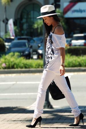 black Zara heels - white Silence & Noise jeans - carlos falchi bag - D&G watch