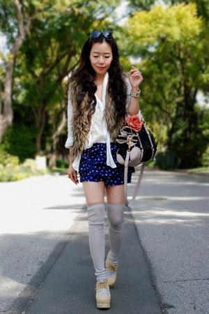 Jeffrey Campbell shoes - Miu Miu bag - Forever 21 shorts - faux fur Urban Outfit