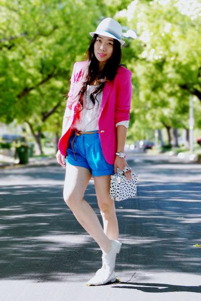 white oxfords Dolce Vita shoes - white Zara hat - hot pink Zara blazer - thrifte