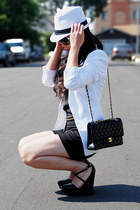 white Lids hat - white Express blazer - black H&M shorts - black silk tank from