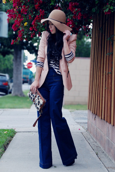 navy wide legs H&M jeans - peach asos blazer - striped H&M top