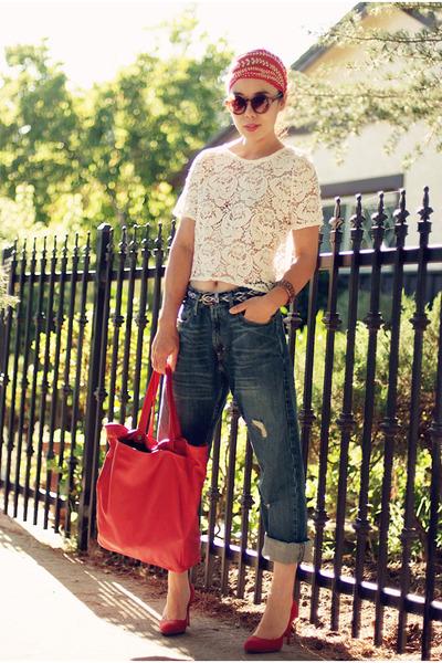 lace River Island top - my husbands Levis jeans - Zara bag