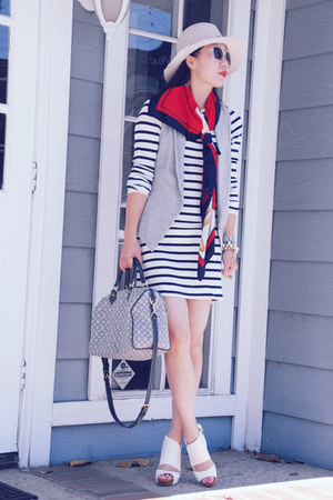 striped French Connection dress - Hat Attack hat - vintage scarf - Louis Vuitton