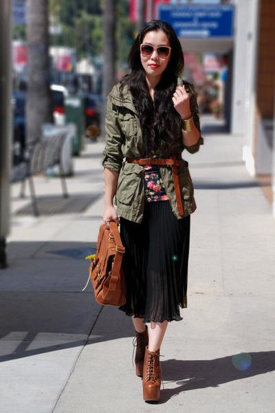 lita Jeffrey Campbell boots - floral dress Topshop dress - H&M jacket