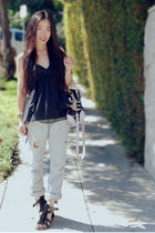 heather gray old Levis jeans - Miu Miu bag - black LaRok top - fringed Bernardo