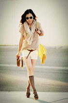yellow Zara bag - Jeffrey Campbell shoes - light yellow Zara shorts