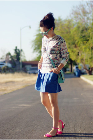 Forever21 top - romwe bag - Zara sandals - American Apparel skirt
