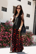 black Zara top - H&M boots - black fringed CCSKYE bag - black H&M sunglasses