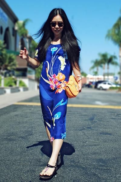 blue silk Zara dress - Payless Shoes sandals