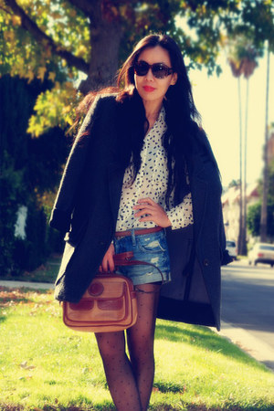 H&M coat - Club Monaco blouse - Steve Madden boots - a&f shorts - vintage bag -