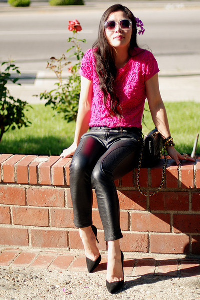 hot pink embroidered Zara top - beige H&amp;M sunglasses - black Zara heels
