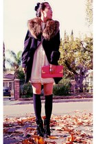 Zara coat - H&M accessories - H&M dress - Dolce Vita boots - Aldo bag - Lucky Br