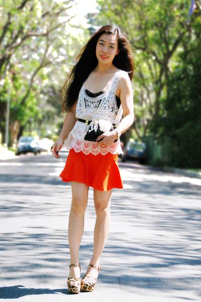 carrot orange Zara shirt - black Zara belt - ivory crochet Zara top - Steve Madd