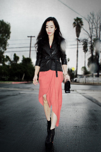leather Esprit jacket - lita Jeffrey Campbell boots - bcbg max azria dress