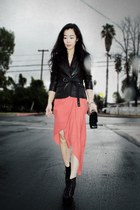 leather Esprit jacket - lita Jeffrey Campbell boots - bcbg max azria dress