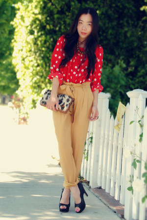 red polka dot H&M blouse - black Dolce Vita heels
