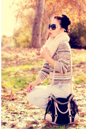 Miu Miu bag - H&M sweater - H&M pants - H&M scarf - Aldo boots - Chanel sunglass