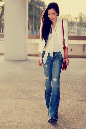 H&amp;M blouse - turquoise blue Work Custom Jeans jeans - white Express blazer