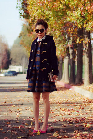 toggle Gloverall coat - Celine shoes - Karen Walker sunglasses