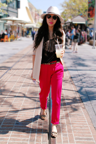 leopard print Bandolino flats - beige H&M blazer - hot pink Zara pants