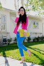 Blue-skinny-zara-jeans-hot-pink-zara-blazer-yellow-asos-bag-salmon-h-m-hee