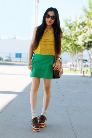 tawny Bally bag - asos sunglasses - tawny Jeffrey Campbell sneakers - chartreuse