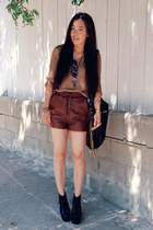 brown leather H&M shorts - black CCSKYE bag - bronze Zara top