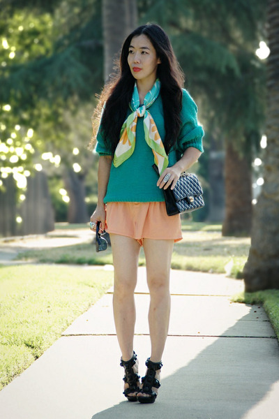 turquoise blue H&M sweater - vintage scarf - light orange H&M shorts - black Bur