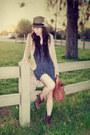 Vintage-boots-urban-outfitters-hat-h-m-blazer-warehouse-bag-zara-romper-