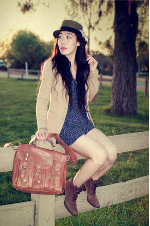 vintage boots - Urban Outfitters hat - H&amp;M blazer - warehouse bag - Zara romper 
