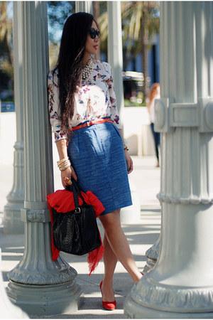 Zara top - red Gap scarf - black carlos falchi bag