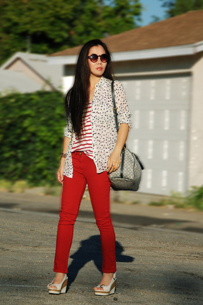 red River Island jeans - silk xhilaration top - polka dots Club Monaco blouse -