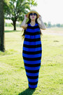 Blue-striped-asos-dress-h-m-hat-black-h-m-blazer-h-m-sunglasses-aldo-hee