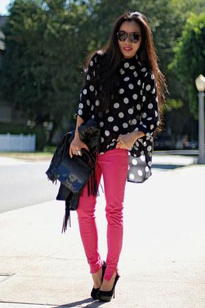 polka dot MinkPink blouse - Zara jeans - clutch Alexander Wang bag