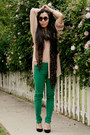 Green-skinny-zara-jeans-nude-sheer-american-apparel-shirt-leopard-print-zara