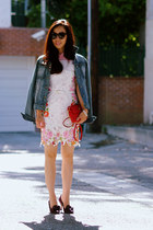Spring Layering: Floral Dress + Silk Blouse + Denim Jacket