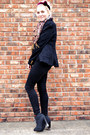 Black-bullhead-jeans-gray-asos-boots-black-thrifted-blazer-coral-h-m-scarf