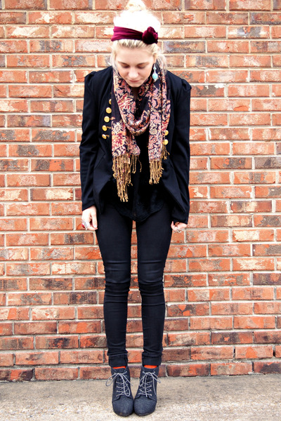 black thrifted blazer - gray asos boots - black Bullhead jeans - coral H&amp;M scarf