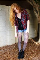 patterned tights - boots - shirt - jean cutoff calvin klein shorts
