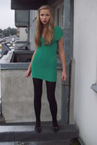 green flea maeket dress - black flea market shoes