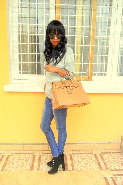 black boots - sweater - H&M sunglasses - mustard earrings