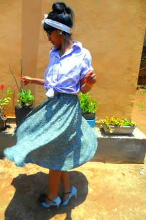 Denim Michelle heels - light purple dorothy shirt - dark green Kithie Lee skirt