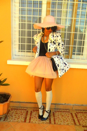 white Dalmatian print coat - light pink hat - cream Over the knee socks