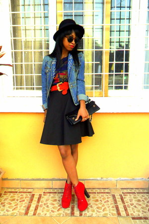 red Litas like shoes - black H&amp;M hat - denim DIY pearled collar jacket