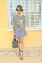 olive green Zara tiger sweater - black Hermes mini so kelly bag
