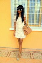 cream vintage rosette and lace dress - mustard bag - Vintage H&M sunglasses