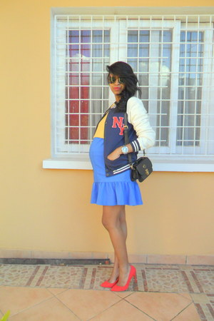 mustard Crop sweater - blue dress - navy Varsity jacket - red pull&bear pumps