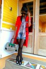 Red-j-brand-coat-black-xbx-shoes-baxter-shirt-rayban-round-sunglasses